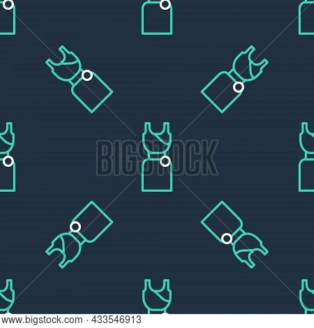 Line Woman Dress Icon Isolated Seamless Pattern On Black Background. Clothes Sign. Vector