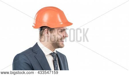 Its All About Engineering. Happy Engineer In Hardhat. Building Expert Side-face. Civil Engineering