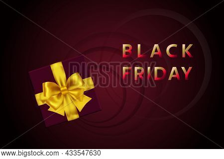 Black Friday Sale. Black Friday Sale Discount Flyer Template With Dark Gift Box And Yellow Bow. Vect