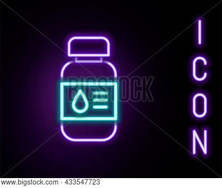 Glowing Neon Line Printer Ink Bottle Icon Isolated On Black Background. Colorful Outline Concept. Ve