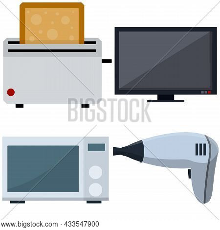 Set Of Home Electrical Appliances. Hair Dryer, Microwave, Tv And Toaster. Flat Cartoon Illustration
