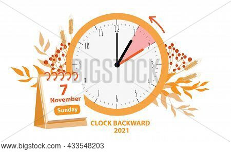 Daylight Saving Time Ends Concept. Vector Illustration Of Clock And Calendar Date Of Changing Time I