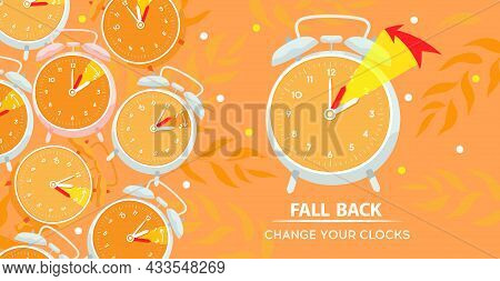 Daylight Saving Time Ends Concept, Fall Back. The Clock Hand Turns To Winter Time. Clock On An Autum