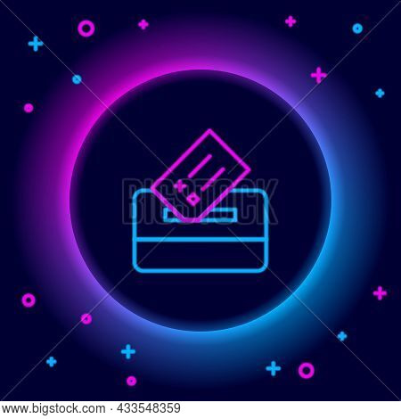 Glowing Neon Line Vote Box Or Ballot Box With Envelope Icon Isolated On Black Background. Colorful O