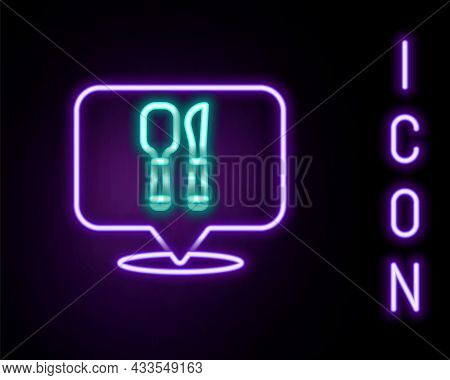 Glowing Neon Line Cafe And Restaurant Location Icon Isolated On Black Background. Fork And Spoon Eat