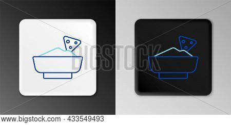 Line Nachos In Bowl Icon Isolated On Grey Background. Tortilla Chips Or Nachos Tortillas. Traditiona
