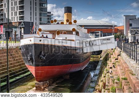 Belfast, Uk, Aug 2019 Front View On Ss Nomadic, The Last Remaining White Star Line Ship In The World