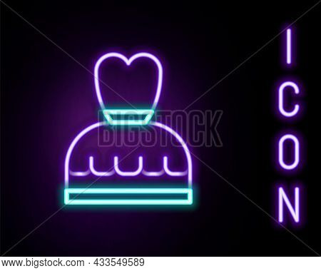 Glowing Neon Line Woman Dress Icon Isolated On Black Background. Clothes Sign. Colorful Outline Conc