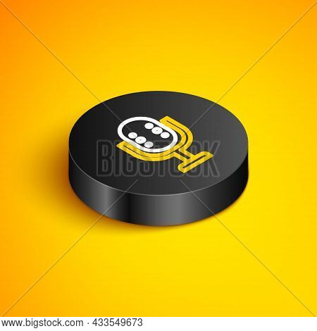 Isometric Line Microphone Icon Isolated On Yellow Background. On Air Radio Mic Microphone. Speaker S