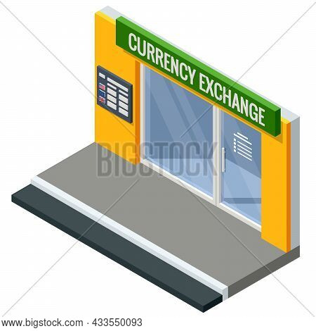 Flat Bank Information Board With Different Flags And Currency For Buy Or Sell. Foreign Currency Exch