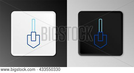 Line Shovel Icon Isolated On Grey Background. Gardening Tool. Tool For Horticulture, Agriculture, Fa