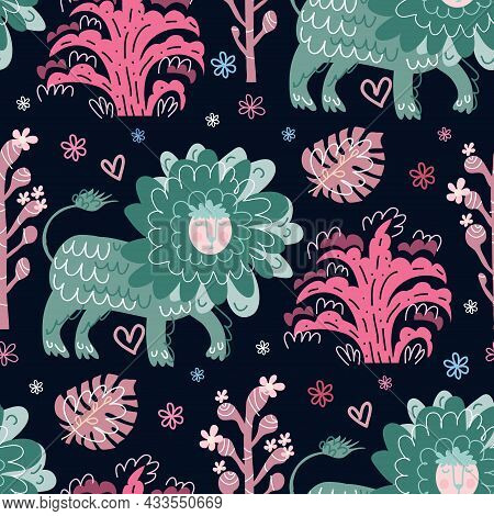 Cute Cartoon Childish Seamless Pattern  With Lion And Plants , Flowers In Folklor Style  Use For Tex