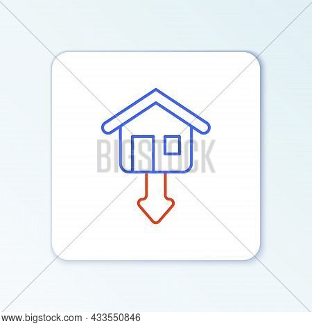Line Property And Housing Market Collapse Icon Isolated On White Background. Falling Property Prices