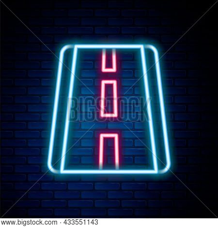 Glowing Neon Line Airport Runway For Taking Off And Landing Aircrafts Icon Isolated On Brick Wall Ba