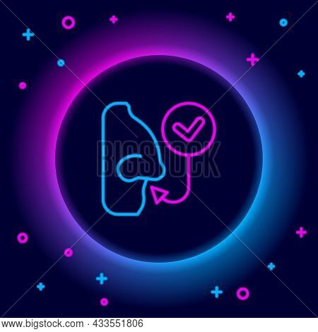 Glowing Neon Line Healthy Breathing Icon Isolated On Black Background. Breathing Nose. Colorful Outl
