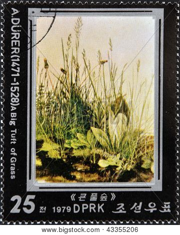 A stamp printed in North Korea shows tuft of grass by Albrecht Durer