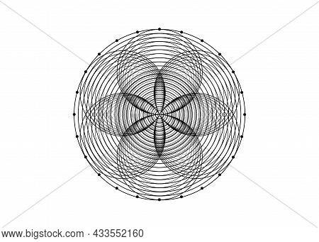 Seed Of Life Symbol Sacred Geometry. Logo Icon  Geometric Mystic Mandala Of Alchemy Esoteric Flower