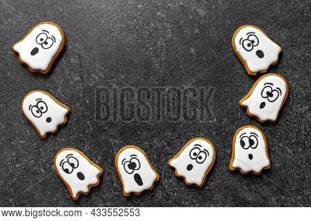Halloween Flying Ghost Cookie On Gray Background Copy Space