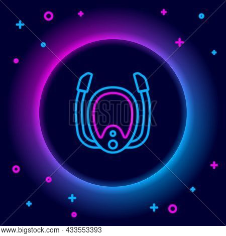 Glowing Neon Line Diving Mask With Snorkel Icon Isolated On Black Background. Extreme Sport. Diving