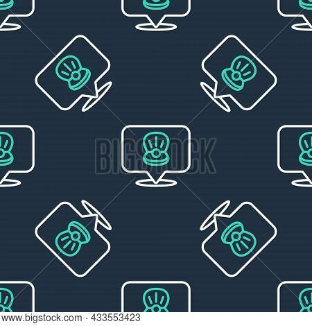 Line Scallop Sea Shell Icon Isolated Seamless Pattern On Black Background. Seashell Sign. Vector