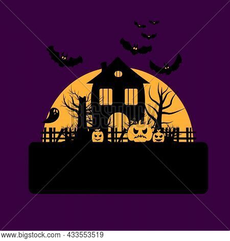 Vector Illustration For Halloween Celebration. Haunted House Near Bats, Pumpkins And Ghosts