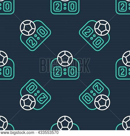 Line Sport Mechanical Scoreboard And Result Display Icon Isolated Seamless Pattern On Black Backgrou