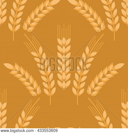 Wheat Ears Icons Seamless Pattern,  Cereals Sketch.  Organic Wheat, Agricultural Bread And Natural F