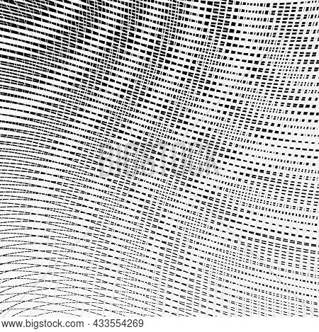 Abstract Black And White Vector Background With Crossed Stripes Texture And Moire Effect. Monochrome