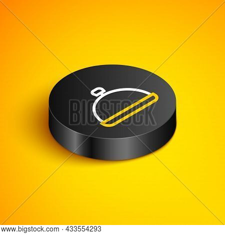 Isometric Line Covered With A Tray Of Food Icon Isolated On Yellow Background. Tray And Lid Sign. Re