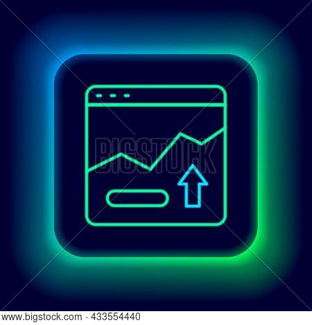 Glowing Neon Line Financial Growth Increase Icon Isolated On Black Background. Increasing Revenue. C