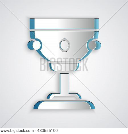 Paper Cut Christian Chalice Icon Isolated On Grey Background. Christianity Icon. Happy Easter. Paper