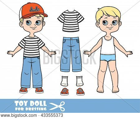 Cartoon Boy With Blond Hair Dressed And Clothes Separately -  Cap With Visor, Stripped T-shirt, Jean