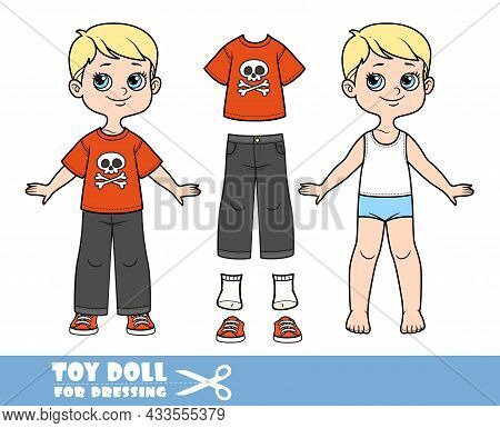 Cartoon Boy With Blond Hair Dressed And Clothes Separately -   T-shirt With Jolly Roger Print, Gray