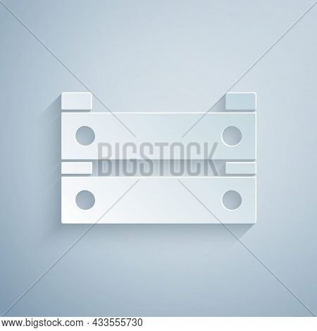 Paper Cut Wooden Box Icon Isolated On Grey Background. Grocery Basket, Storehouse Crate. Empty Woode