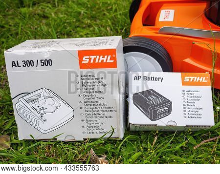 Paris, France - June 12, 2021: Carton Package With Stihl Ap Battery And Its Al 300 And 500 Charger F
