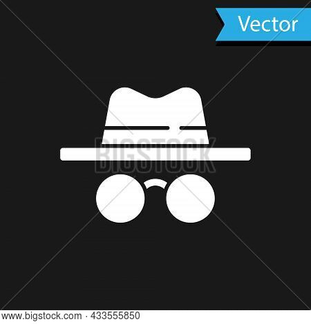 White Incognito Mode Icon Isolated On Black Background. Vector