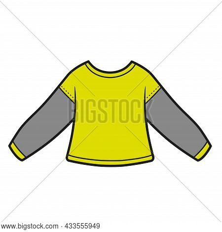 Basic Long-sleeved Sport T-shirt Color Variation For Coloring Page On A White Background