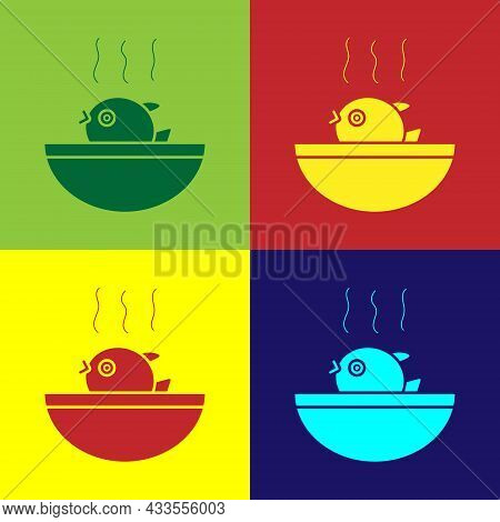 Pop Art Puffer Fish Soup Icon Isolated On Color Background. Fugu Fish Japanese Puffer Fish. Vector.