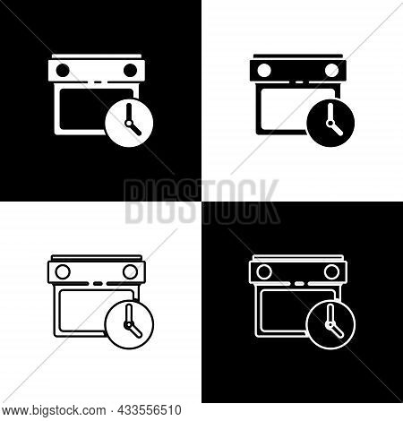 Set Calendar And Clock Icon Isolated On Black And White Background. Schedule, Appointment, Organizer