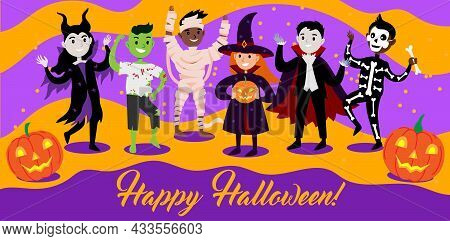 Happy Halloween Greetings Card With Diverse Cute And Funny Characters In Costumes. Kids In Halloween