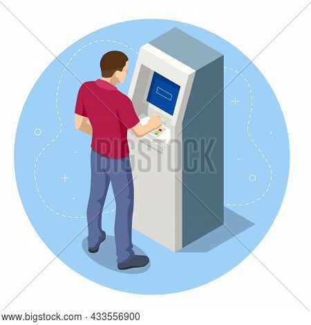 Isometric Man Waiting For The Credit Card Inserting From Atm Machine. Atm Service Machine Of A Bank.