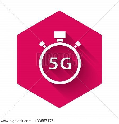 White Digital Speed Meter Concept With 5g Icon Isolated With Long Shadow. Global Network High Speed