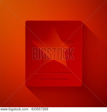 Paper Cut Hollywood Walk Of Fame Star On Celebrity Boulevard Icon Isolated On Red Background. Famous