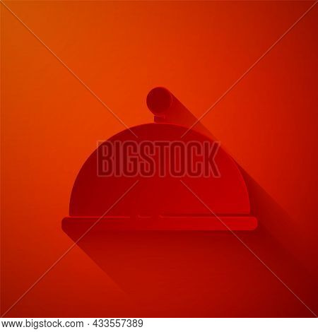 Paper Cut Covered With A Tray Of Food Icon Isolated On Red Background. Tray And Lid. Restaurant Cloc