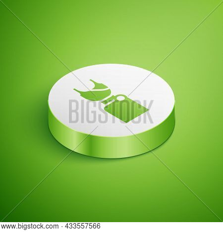 Isometric Woman Dress Icon Isolated On Green Background. Clothes Sign. White Circle Button. Vector