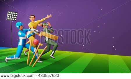 3D Rendering Of Cricket Player Characters In Different Poses On Green And Purple Stadium Background.
