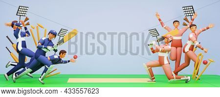 Cricket Players Of Participating Teams On Playground In 3D Style.