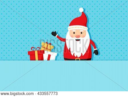 Santa Claus And And Gift Boxes, Christmas, New Year Greeting Card. Holiday Banner With Cute Characte