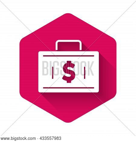 White Briefcase And Money Icon Isolated With Long Shadow. Business Case Sign. Business Portfolio. Fi
