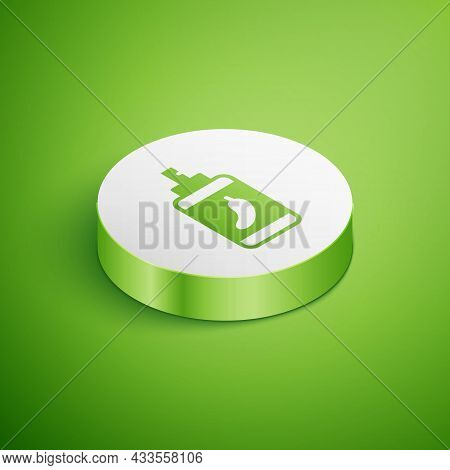 Isometric Pepper Spray Icon Isolated On Green Background. Oc Gas. Capsicum Self Defense Aerosol. Whi